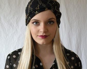 Headwrap Turban Headband  Womens Fashion Accessory Hair Band Navy with Gold Chain Sheer