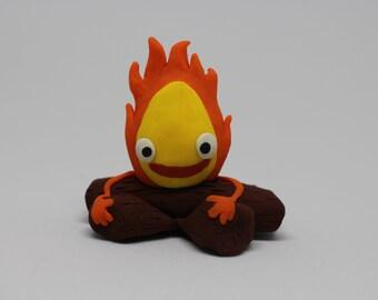 Calcifer Fire Demon, Studio Ghibli Howl's Moving Castle, Polymer Clay Miniature Figurine