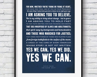 Barack Obama Poster, Obama quote, Motivational Quotes, Cool posters, Quote poster, Typographic print, Obama Poster, Quote prints