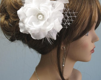 White(Ivory) Bridal  Flower Hair Clip  Wedding Hair Clip  Wedding Accessory Veil Pearls Feathers
