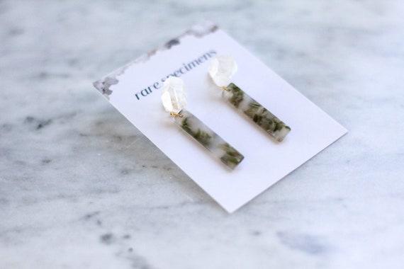 Rare Specimens – Stick Drops – Moss With Quartz