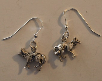 Sterling Silver 3D COYOTE Earrings - Wildlife, Southwest, Native American, Totem