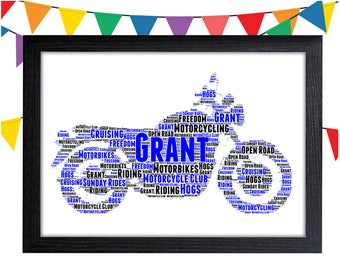 Motorcycle Gifts Personalized Gift For Dad Gifts Harley Davidson Gift Wall Prints Wall Art Wall Decor Personalised Gift Wall Art Prints