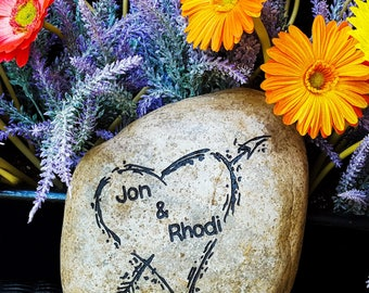 Garden Decor Rock - Newlywed Gift - Housewarming Gift - Engraved Heart - Love Garden Stone - Garden Art - God Rocks - First Home Gift