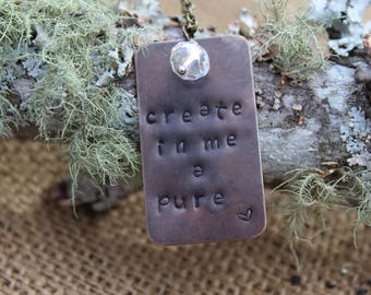 Hand Stamped Brass Create in Me a Pure Heart Necklace Psalm 51:10