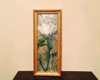 Flower Painting- 10 x 4 - Framed- Painting - Wild White Poppy Flower -Original Painting- 10 x 4 approx. inch - including Frame - Fine Art