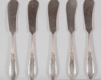Flat Handle Butter Spreader in King Edward (Silverplate 1936,1951) by National Silver Co (set of 5)