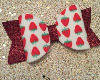 Red glitter strawberry spring hair bow accessory