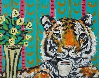 25% off TIGER art - tiger gifts - coffee art - coffee gifts - tile - coaster -tiger print - tiger lover - art tile coaster gift - cafe decor
