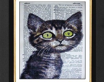 """Cat Picture """"Le Kitty""""-Cat Humor Prints, Mixed Media print on 5.5 x 8  onFrench Dictionary page, French Dictionary art, Dictionary Art Print"""