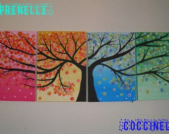 "Tree of life acrylic painting ""the four seasons"""