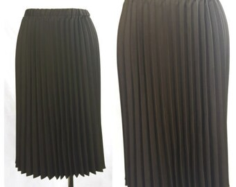 Vintage 80's Women Skirt Midi Knee Accordion Pleat Choko Brown UK8 EU36