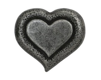 3 Heartbeat 9/16 inch ( 15 mm ) Dill Metal Button Silver Color