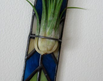 Stained Glass Air Plant Holder-Wall Flower Holder-Chevron Pattern-Blue-Green-Beige-Glass Wall Decor-Home Decor-Office-Decor-Indoor Gardening