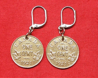 1921 Earrings made with canadian pennies from 1921