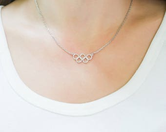 Olympic Rings Necklace-Olympic Necklace-Sport Necklace-Sport Gift-Athlete Necklace-Athlete Gift-Fitness Necklace-Fitness Gift