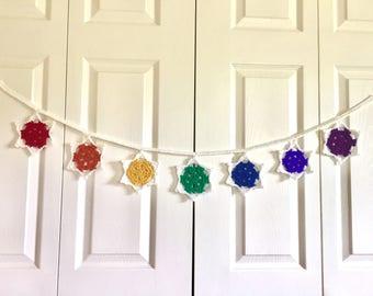 Crochet Chakra Mandala Garland, Bunting, Banner, Rainbow, Wall Hanging, Wall Decor