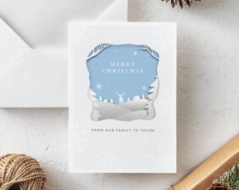 Merry Christmas Printable Christmas Card - Blank Inside - Cutout Style