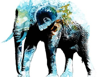 Elephant watercolor ink background instant download 8x12 inches poster wall art illustration print art decorative blue green black