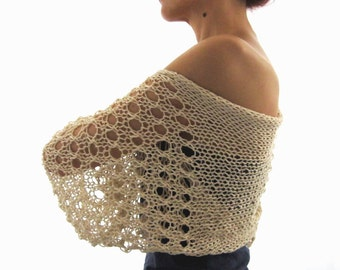 Light Beige COTTON SHRUG  ....Elegant Hand Knitted Summer Shrug