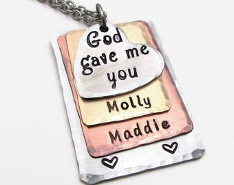Personalized Necklace - Hand Stamped Jewelry - Layered Mother's Necklace - Mixed Metal Personalized Necklace Gift for Mom God Gave Me You