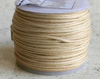 Cotton Cord Natural Waxed 0.5mm 25-Meter Spool