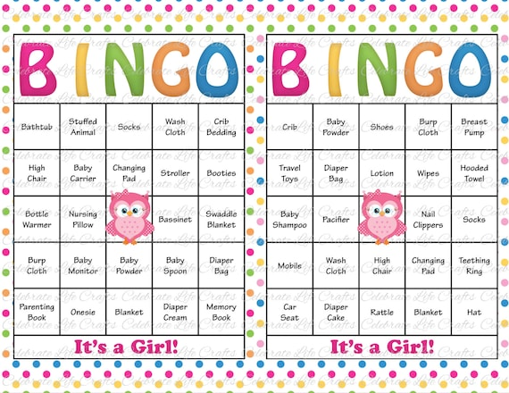 30 Baby Shower Bingo Cards Printable Baby Girl Instant