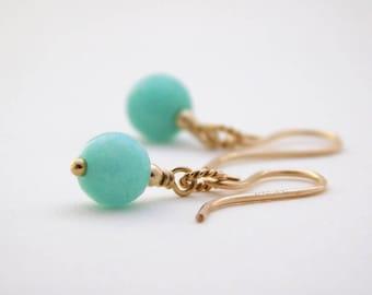 Amazonite Gold-filled Earrings, Gemstone Earrings, Pale Green Earrings, Amazonite Dangle Earrings, Mint Green Drop Earrings, UK Jewellery