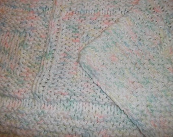 Baby to Toddler Knitted Afghan Blanket - Pastels and White