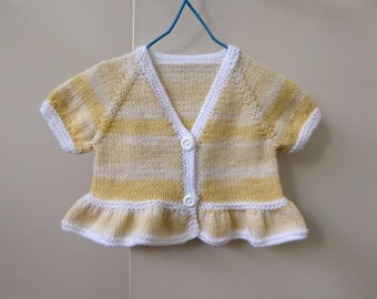 Girls yellow sweater, hand knit short sleeved bolero cardigan, baby girl 6 months, girl's knitted shrug, knit cropped sweater