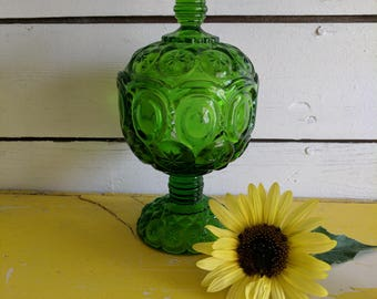 Smith Glass Moon and Stars Lime Green Lidded Compote Dish