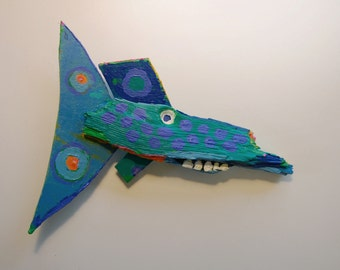 Whimsical, Colorful, Fun Fish Art made from recycled materials