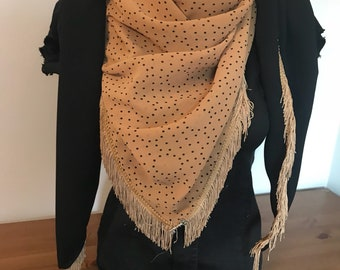 Yellow and black scarf with fringe
