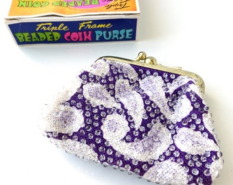 Vintage Coin Purse / Beaded Coin Purse / Beaded Change Purse / Paisley / Purple Wallet / Retro Coin Purse / Beaded Wallet