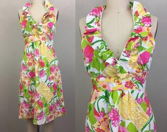 Vintage LILLY PULITZER Dress Floral Halter Sundress 90s M