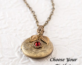 Etched Flower Locket Birthstone Necklace Photo Locket Bronze Necklace Locket Jewelry Keepsake Jewelry Personalized Gift Mothers Day Gift