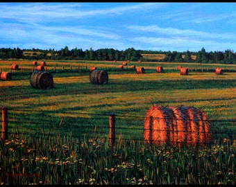 """Landscape Art Print - """"Evening Haybales"""", Limited Eidition Givlee Print on Fine Art Paper, 9"""" x 12"""""""