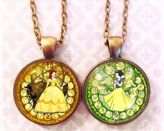 """Choose from 4 images! - Princess Kingdom Hearts """"Stained Glass"""" Pendant"""