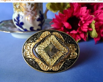 Mothers Day Sale Vintage Black and Gold Enamel Oval Brooch, Vintage Enamel Pin, Layered Enamel Brooch