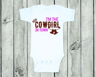 New Cowgirl in Town Bodysuit ~ Cowgirl Baby ~ New Baby ~ Cowgirl Baby Shower ~ Baby Shower Gift