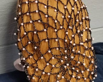 "Net Beaded Snood-Long 10"" Length in Metallic Combination thread."