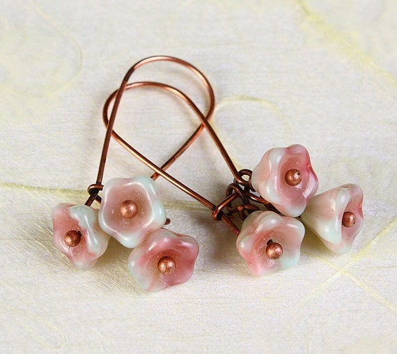 Handmade Pistachio pink green Czech bell flower floral dangle earrings READY to ship (365)