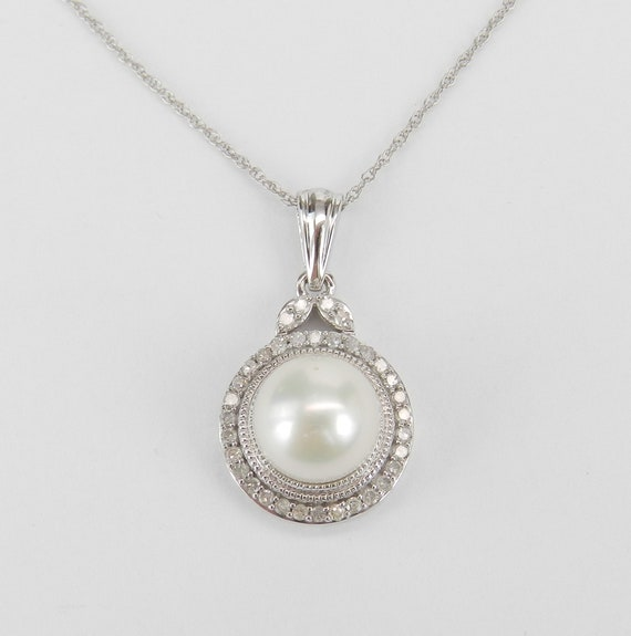 """White Gold Diamond and Pearl Halo Pendant Necklace with Chain 18"""" June Birthday"""