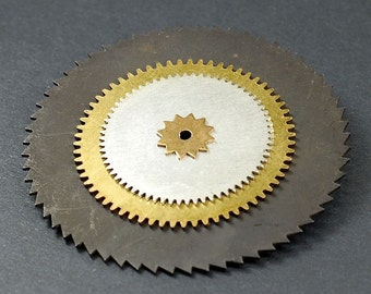 Steampunk Jewelry Brooch- Silver & Gunmetal Saw Blade and Clock Gear Industrial Pin, Industrial Jewelry by Tanith Rohe
