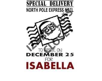Personalized North Pole Special Delivery Santa Sack Receipt SVG Vector  Printable Cutable