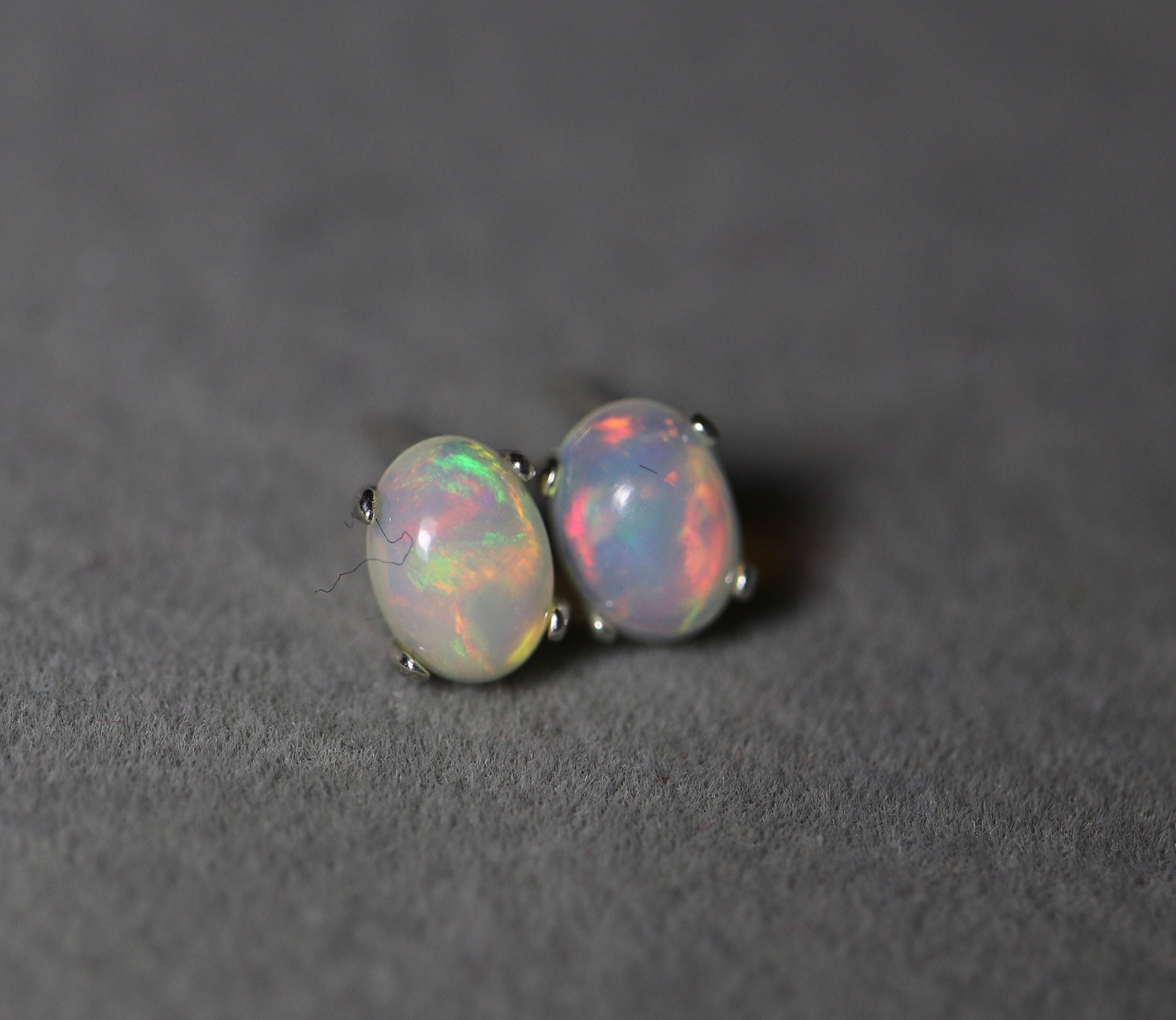gemstone products opal iridescent stud pearl silver earrings sterling genuine round