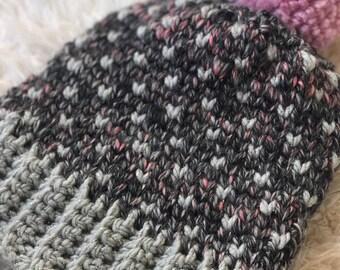 Crocheted Fair Isle Beanie - Blush and Grey