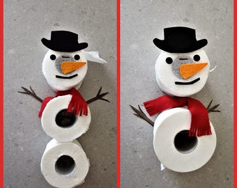 Snowman - toilet paper holder with 2 or 3 spare rolls (it hangs without screws).