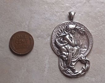 Solid Heavy Sterling silver Alphonse Mucha Poetry pattern pendant necklace large