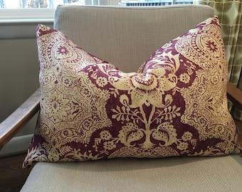 Plum and Cream Damask Pillow Cover / Designer Linen Fabric / Handmade Home Decor Accent Lumbar Pillow